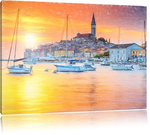 Pixxprint Kroatische Hafenstadt als Leinwandbild | Größe: 80x60 | Wandbild| Kunstdruck | fertig bespannt