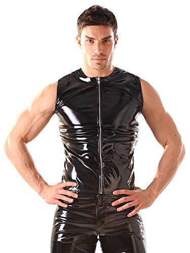 Skin Two Clothing Top sans Manches en PVC pour Homme - Noir - Sexy & Fétichiste - Large