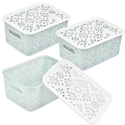 DODUOS 3 pcs Cestas de Almacenaje Multiuso con Tapas Cesta Organizadora de Plástico Cajas Organizadoras para Cocina, Baño, Cosméticos
