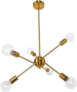 OYIPRO Moderno Sputnik Lámparas de araña Lujo Iluminación colgante con 6 E27 para sala de estar Dormitorio Restaurante (Sin bombilla)
