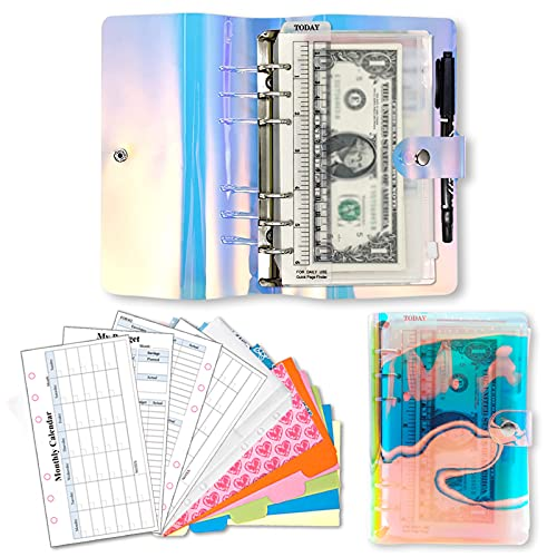 PVC Cash Envelopes Wallet Finances Organizer, 2021 Weekly & Monthly Personal Budget Planner, 6-Ring Binder Refillable Notebook with 12 Cash Envelopes & Budget Sheets Calendar