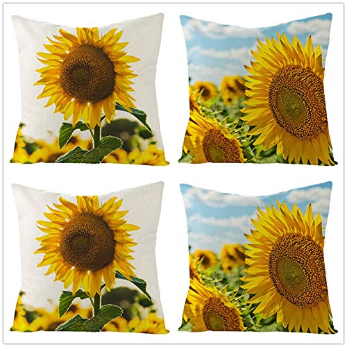 Set of 4 Cushion Cover Throw Pillow Covers Yellow Sunflower Square Cotton Linen Double Sided Cushion Covers with Invisible Zipper for Sofa Bedroom Home Decor Throw Pillowcases Pillowcase,40x40cm Y2404