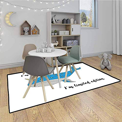 LAURE Narwhal Baby Crawling Mat Kids Playmat Hand Drawn Blue Cartoon Whale with Star Motifs and Motivational Quote