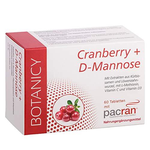 CRANBERRY + D-MANNOSE, Tabletten für Harnwege und Blase, enthält Vitamin C und D, Kürbissamen- und Löwenzahnwurzel-Extrakt (60 Tabletten, Monatspack)