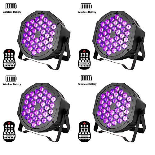 UKing Blacklight LED ingebouwde batterij 72W UV LED Spot DMX Par Light met draadloze afstandsbediening UV-verlichting voor DJ Disco Club Birthday Partylicht (oplaadbaar) 4 pack UV Schwarzlicht
