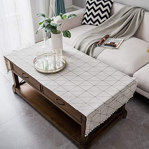 Epinki Mantel Tablero de Ajedrez Blanco Mantel Ropa de algodón Ideal para Cocina Mesa Decoración Tamaño 70x170CM