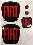 Logo anteriore, posteriore + volante + 2 stemmi per portachiavi. Per cofano e baule. Adesivi resinati, effetto 3D. Fregi colore Nero-Rosso