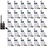 EXMAX E108 DSP Stereo Wireless Headsets FM Radio Broadcast System for Tour Guide Teaching Meeting Training Travel Field Interpretation 1 Transmitter & 30 Receivers (White)