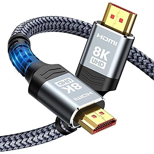 HDMI 2.1 Kabel 2m 8K, Snowkids 48Gbps 8K@60Hz HDMI 2.1 Kabel 4K@120Hz 7680P, für PS5 Konsole, DTS: X, HDCP 2.2&2.3, HDR 10, eARC, kompatibel mit PS5/4/3 X-BOX HDTV