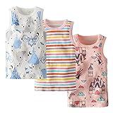 Allmeingeld - Canottiera intima da bambina, senza maniche, 100% cotone, confezione da 3, per 1–7 anni Castello, Principessa & Colorful Stripe Set 5-6 Anni