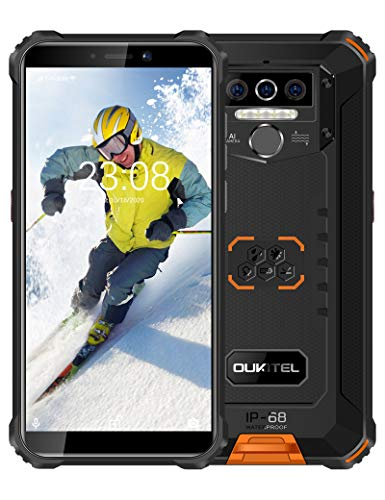 OUKITEL WP5 Pro (2021) Rugged Cell Phone Unlocked, 4GB +64GB 8000mAh Android 10 Smartphone + Triple Camera Global Version 4G, Face ID Fingerprint, Orange