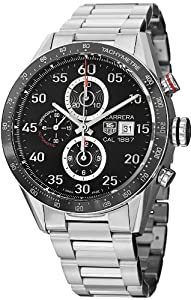 Tag Heuer Carrera Black Dial Stainless Steel Automatic Chronograph Mens Watch CAR2A10.BA0799 image