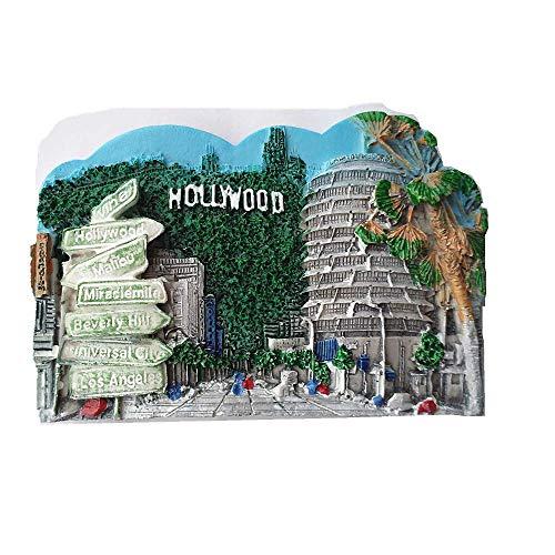 Aimant de réfrigérateur 3D Hollywood Los Angeles USA - Cadeau souvenir de voyage, souvenir de la maison et de la cuisine - Collection d'autocollants magnétiques - Aimant de réfrigérateur