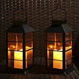 Tomshine LED Solar Lantern Outdoor Hanging Solar Lights Waterproof Candle Light for Patio Courtyard Garden Decorative (2 Pack)