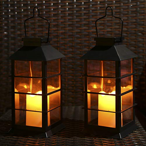 Tomshine Outdoor Solar Lanterns Garden Hanging Flickering Candle Lights Solar Powered for Patio Yard Lawn Backyard Pathway Courtyard Ornaments,2 Pack