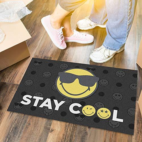LILENO HOME Felpudo 40 x 60 cm Stay Cool – Felpudo para interior y exterior – divertido felpudo negro/amarillo – lavable y antideslizante – felpudo para puerta fina