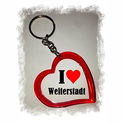 Druckerlebnis24 Herz Schlüsselanhänger I Love Weiterstadt - Exclusiver Geschenktipp zu Weihnachten Jahrestag Geburtstag Lieblingsmensch
