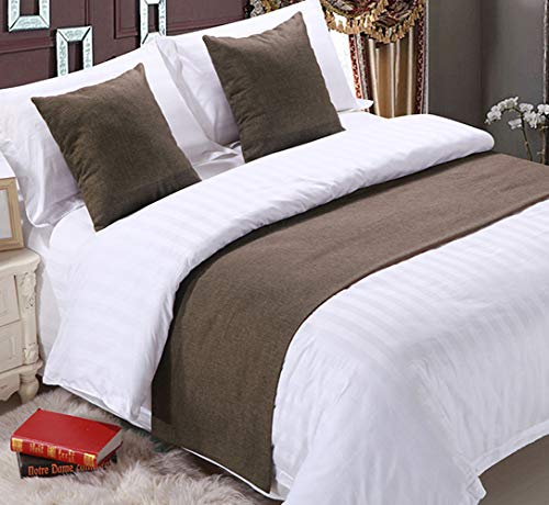 Mengersi Solid Bed Runner Scarf Protector Slipcover Bed Decorative Scarf for Bedroom Hotel Wedding Room(Twin Extra Long, Coffee)