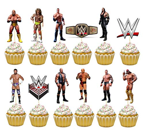 24PC WRESTLING SPORT PARTY CUPCAKE TOPPER CAKE TOPPERS DECORATION THEME BIRTHDAY A2
