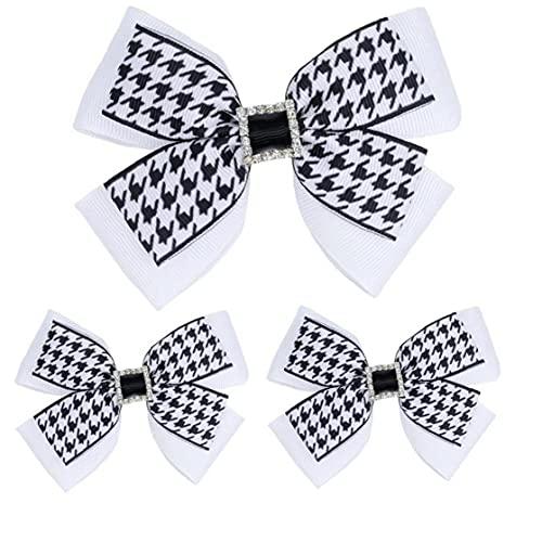 Onsinic 3 stks Mode Baby Haar Clips Zwart & Wit Houndstooth Bogen Haar Pins Haarspeldjes voor Baby Meisjes Mooie…