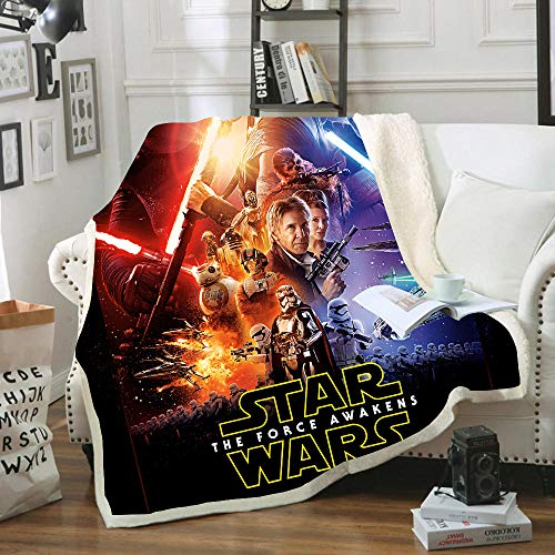 SSLLC 3D Star Wars Manta polar digital Printed Micro polar muy suave y cálida para sofá, pausa o almuerzo, oficina, niños, regalo (A3,150 x 200 cm)