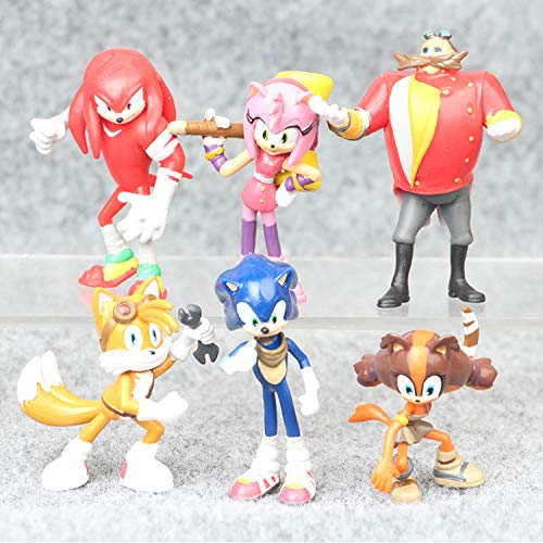 Sonic Figures Juguete 6 Unids/Set Cartoon Sonic Action Figure Cute Anime Mini Sonic Boom Rare Shadow PVC Collectible Modelo Doll Toys Gift For Kid