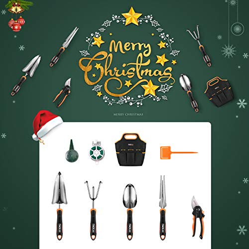 TACKLIFE Garden Tools Set, Stainless Steel Heavy Duty Garden Tools with Non-Slip Rubber Grip, Storage Tote Bag, Full-Featured Outdoor Hand Tools, Garden Gift for Friend or Family - GGT5A