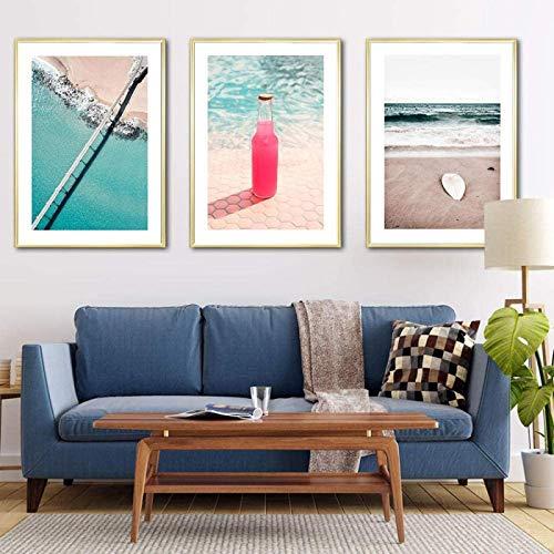 GKZJ Impresión en Lienzo Nordic Holiday Sandy Beach Poster Cóctel Pintura Tabla de Surf Imágenes artísticas de Pared para decoración Moderna del hogar 3x40x60cm sin Marco