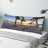 Funda de Almohada para el Cuerpo,Playa paraíso Tropical al Atardecer con hamac,Funda de Almohada Larga y Transpirable con Cremallera para sofá de Dormitorio,sofá de 20'x54'