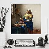 N / A Xh1121 Pintura Famosa Mujer Trabajando Impresiones Pared Arte Pintura Sala de Estar y Dormitorio decoración 60x60cm sin Marco