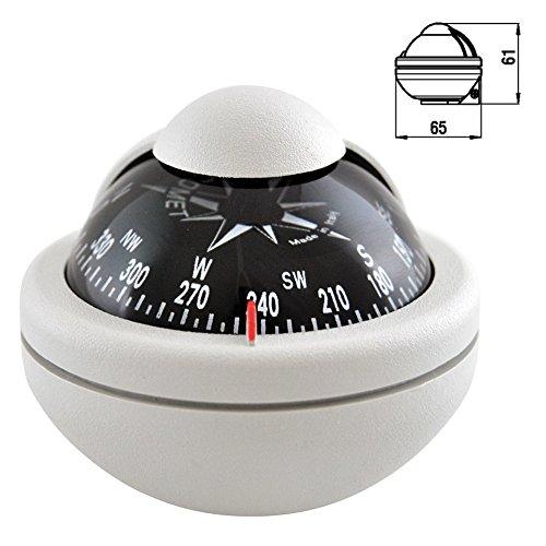 wellenshop Marine Kompass Bootskompass wasserdicht Weiß/Grau mit verstellbarem Sockelfuß Boot Schiffskompass Kugelkompass Motorboot-Kompass Caravan