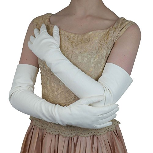 Opera Length Italian Leather Gloves. Lined in Silk. 16bt. By Solo Classe (L, White)