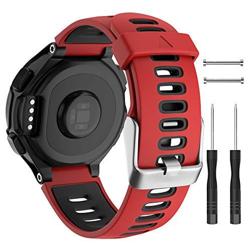 Isabake para Garmin 735XT Correa Reemplazo, Garmin Forerunner 235 Correa, Correa de Silicona Suave para 620 630 220 230 Accesorio de Reloj (Negro/Rojo)