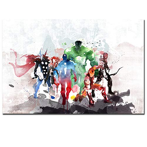 FGDH&SDF Impresiones sobre Lienzo 1 Piezas Acuarela Marvel Poster Superheros Wall Pictures Living Room Decoration Kids Wall Art Abstract Home Decor, Sin Marco, 40 * 60 cm