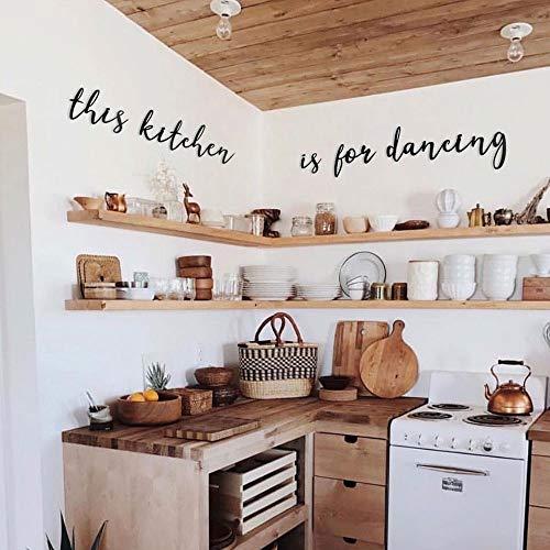 Hoagard This Kitchen is for Dancing Metal Wall Art, Schwarz, Metallwandkunst, Wanddekoration Metall Wanddeko für minimalistische und Moderne Küchendeko