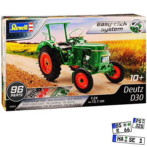 Deutz D30 Traktor Gruen 07821 Bausatz Kit 1/24 Revell Modell Traktor mit individiuellem Wunschkennzeichen