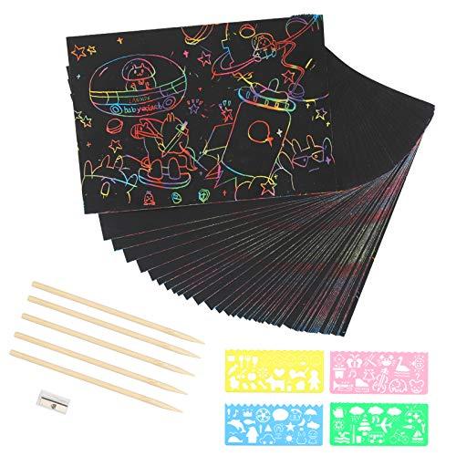 LANMOK Kratzbilder für Kinder, 50 Blätter DIY Bunte Scratch Paper Kratzbilderbastelsets Regenbogen Kratzpapier zum Zeichnen und Basteln mit Schablonen Holzstiften