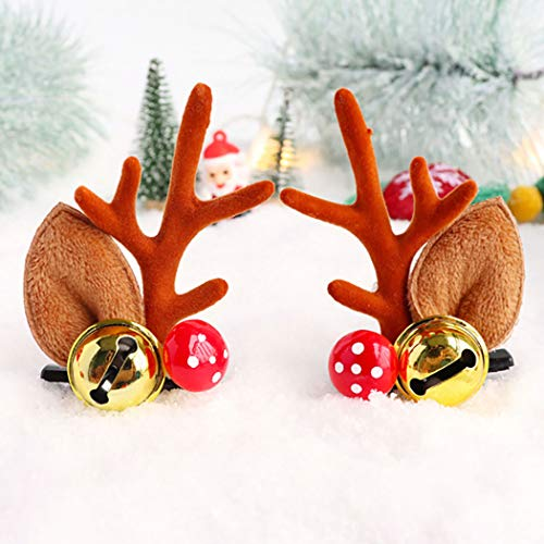 Cagora Christmas Headband Reindeer Xmas Antlers Hair Clip Elk Deer Animal Horns Bell Hair Pins Flower Ring Antlers Headpiece Deer Horn Ears and Berries Hairpin Christmas Hair Accessories for Women and Girls 2 Pcs
