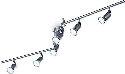 B.K.Licht plafonnier 6 spots orientables, ampoules LED 3W GU10 incluses, spots plafond, éclairage intérieur, lumière ...