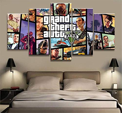 XYZNB Leinwanddrucke 5 Stücke GTA 5 Spiel Poster Bilder Hd Leinwand Wohnzimmer Kunst Dekoration Malerei (Size_A) Kein Rahmen