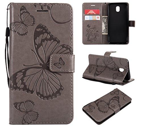 Handyhülle für Galaxy J5 2017 / J5 Pro 2017 Hülle Leder Schutzhülle Brieftasche mit Kartenfach Magnetisch Stoßfest Handyhülle Case für Samsung Galaxy J5 2017 - XIKAT040526 Grau