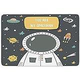 FANCYDAY Alfombrilla de baño, Astronauta, Eres mi Astronauta Doodle cósmico con Estrellas Rocket Moon Comet Galaxy UFO, Gris Multicolor, Microfibra de Franela