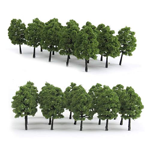 HO Scale Trees, Mystear 50PCS HO OO Scale 1:100 Model Trees 1.4in/3.5cm Train Railroad Park Scenery Architecture Fake Trees for DIY Crafts, Building Model, Landscape