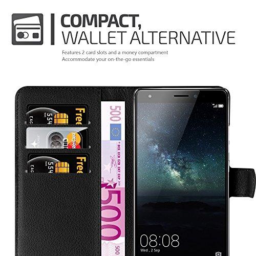 Cadorabo Hülle für Huawei Mate S - Hülle in Phantom SCHWARZ – Handyhülle mit Kartenfach und Standfunktion - Case Cover Schutzhülle Etui Tasche Book Klapp Style - 3