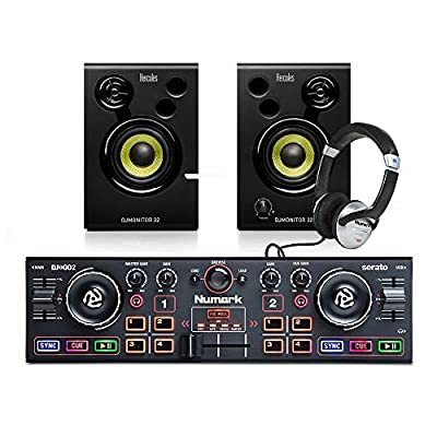 Numark DJ2GO MKII DJ Controller + Studio Monitor Speakers/Headphones DJ Bundle