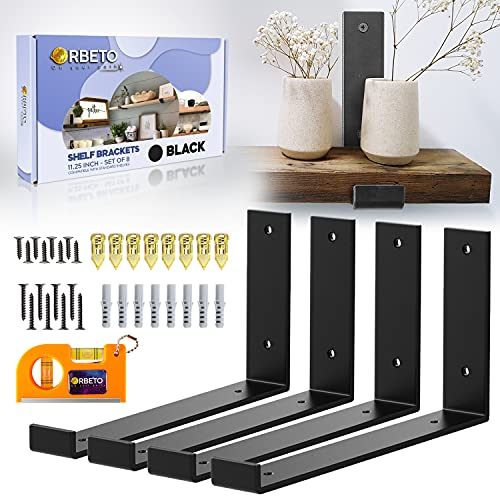 Orbeto 12 inch Shelf Bracket with Lip for 11.25 Inch Shelves - 4 Pack, for DIY Floating Shelves in Rustic Industrial Farmhouse Style - Hardware Included - Plus Magnetic Level - Black