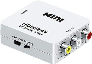 Posh Mini HDMI2AV UP Scaler 1080P HD Video Converter Media Streaming Device, White
