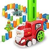 Tren eléctrico Domino, juego de distribución de rally automático, 80 unidades de juguete de tren Domino con sonido ligero para niños 3-7