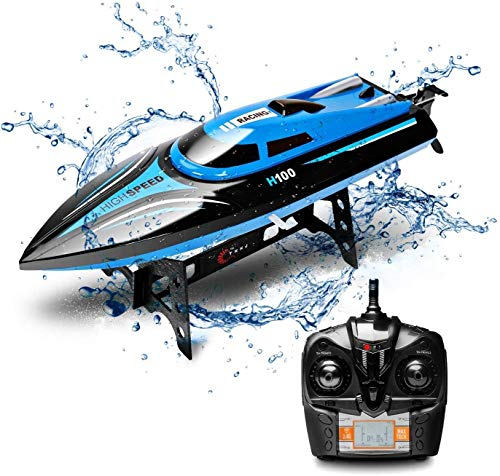 DeXop Remote Control Boat Rc Boat with High Speed Radio Remote Control Electric Racing Boat for Children, Adults, Works in the bathtub at home(H100)