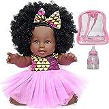 COLOR TOYS Poupée Noire Africaine pour Enfants avec Sac à Dos et biberon | Jouet de 30 cm à Offrir en Cadeau de Noël ou Anniversaire | Bébé Afro aux Cheveux bouclés (SHURI)